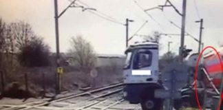 near-miss between c2c train and lorry at Essex level crossing