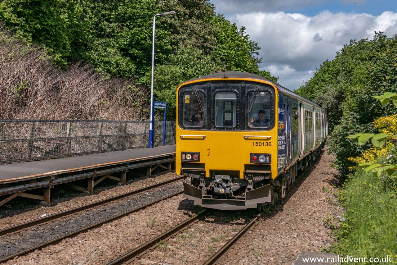 150136 speeds through Burnley Manchester Road