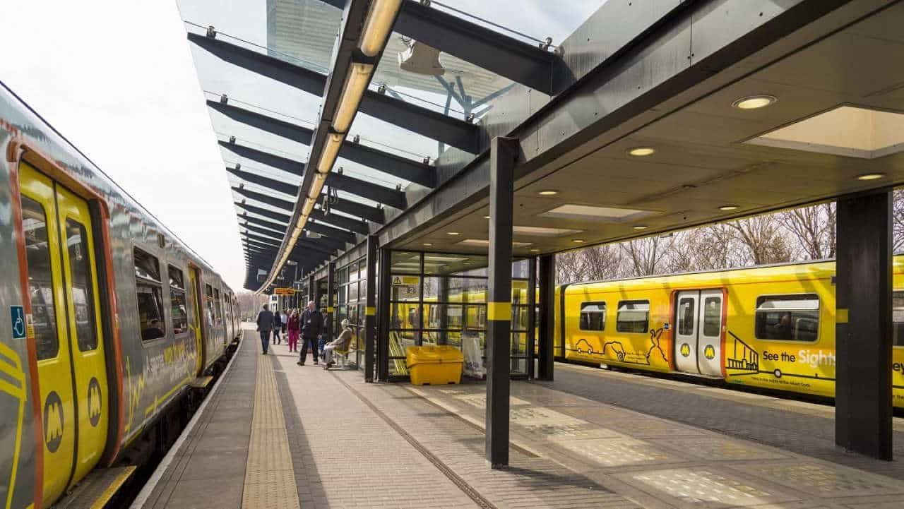 Merseyrail trains at Sandhills stations