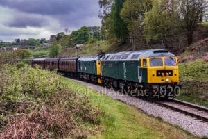 47727 and 25059 depart Oakworth - Keighley and Worth Valley Railway