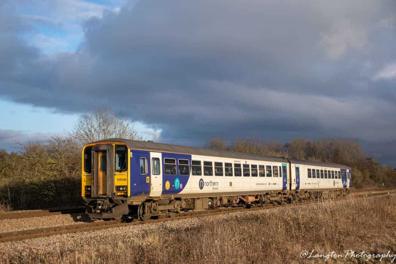 155346 approaching Ferriby with a Bridlington to York service - Storm Ciara