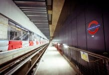 Roundels are installed at Battersea Power Station, London Underground station.