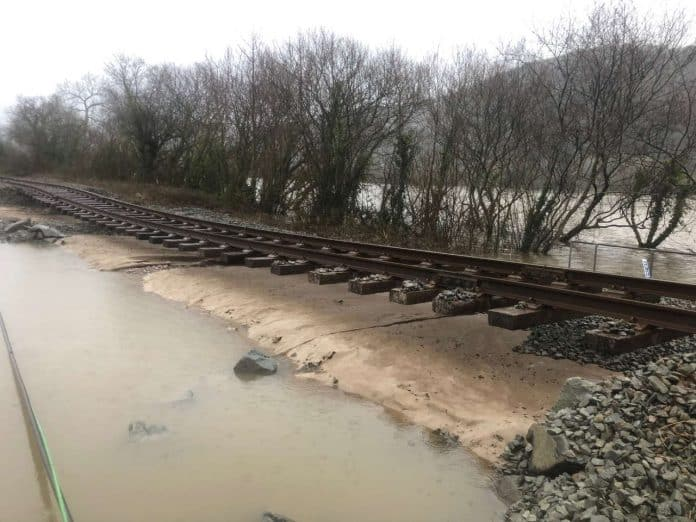 Storm Ciara batters the Conwy Valley line