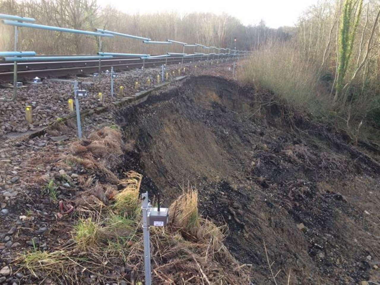 East grinstead railway closed after landslide