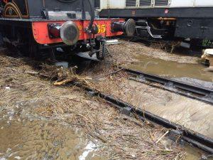 Flood damage inside Haworth locomotive shed