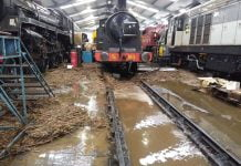 Storm Ciara Flood damage inside Haworth locomotive shed
