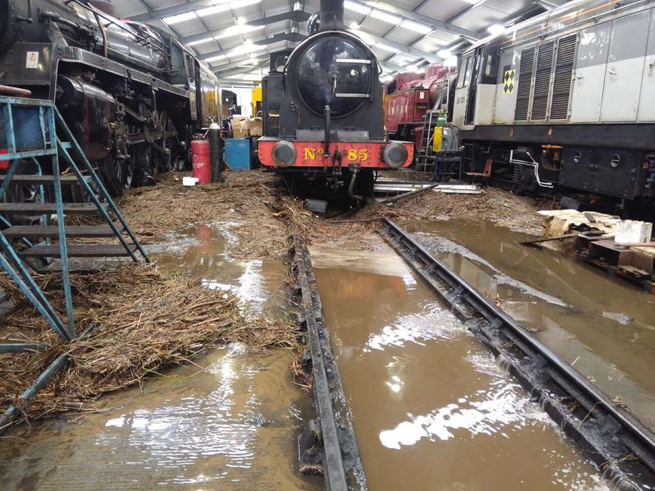 Storm Ciara Flood damage inside Haworth locomotive shed