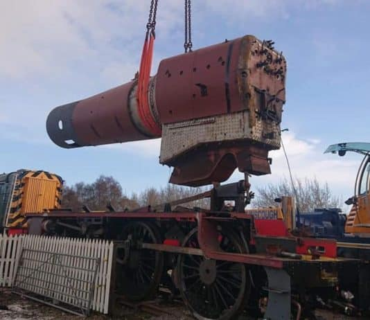 Lifting 5025's Boiler into Frame // Credit The Watkinson Trust