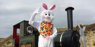 Easter bunny train tickets on sale at the Groudle Glen Railway