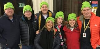 railway workers sleep out at Leeds station in aid of charity