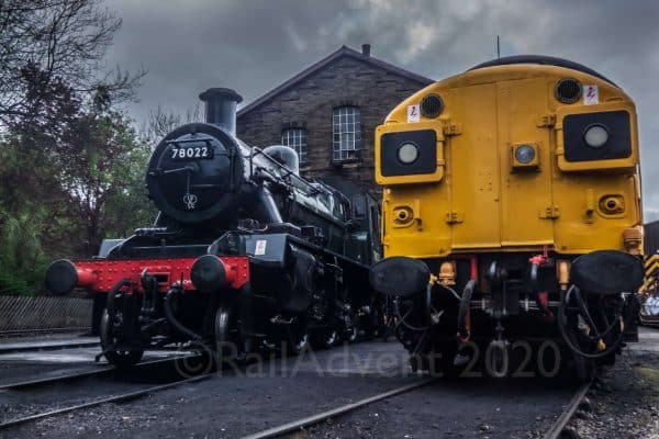 78022 and 37075 at Haworth shed