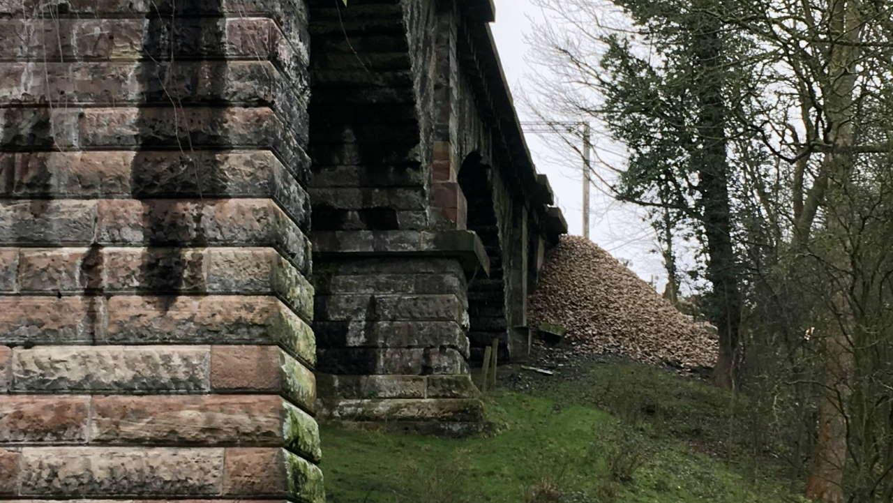 380 tonnes of stone to reinforce landslip at Dutton Viaduct near Warrington on West Coast Mainline