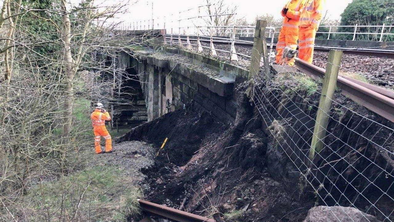 Warrington landslip causes disruption to West Coast Main Line trains