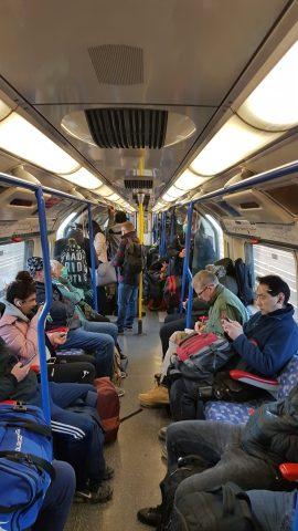 Packed tube train amid coronavirus fears