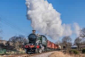 GWR Prairie 4144 approaches Damems on the Keighley and Worth Valley Railway
