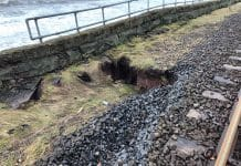 Parton landslip cumbrian coast line bridge