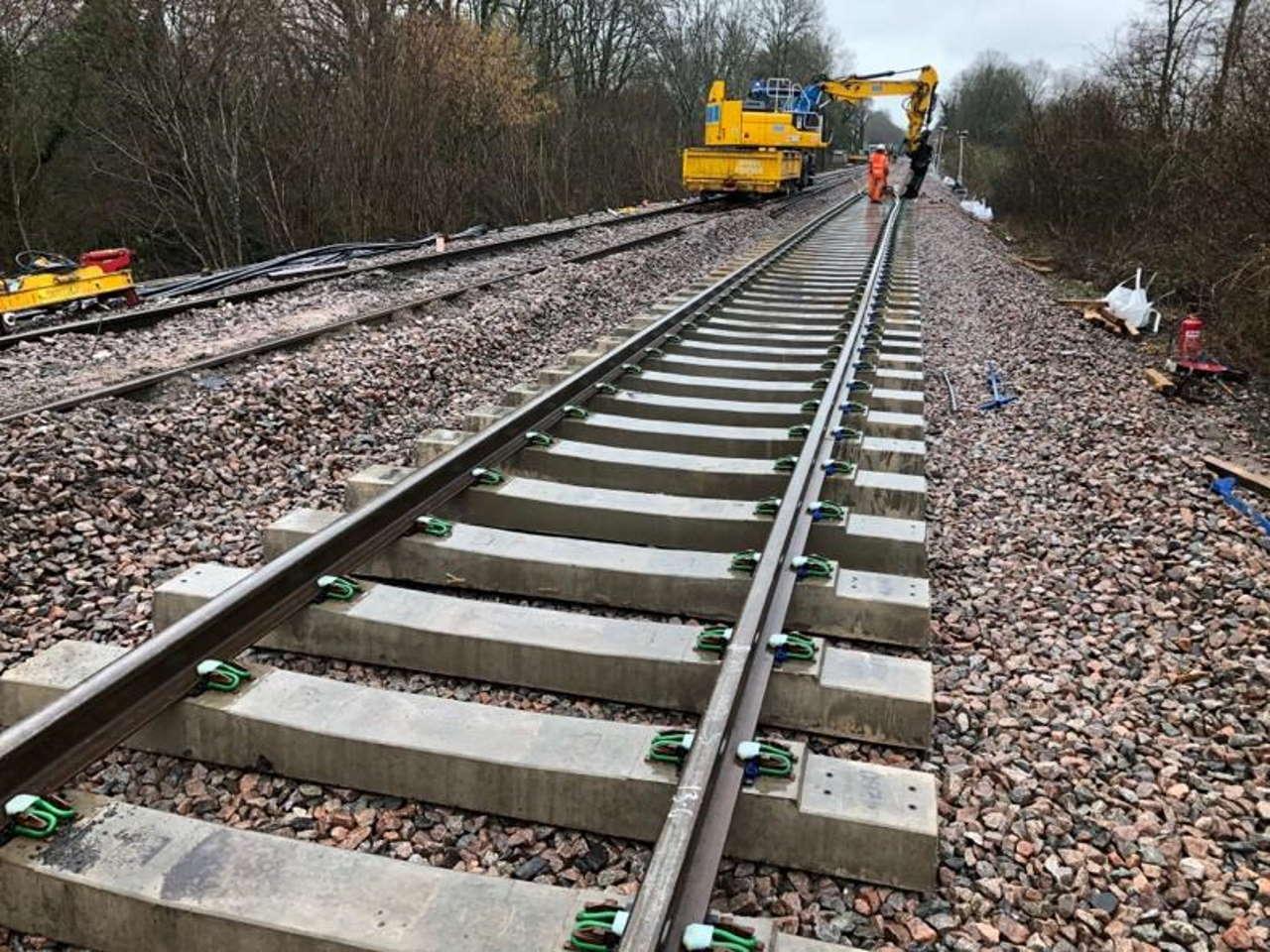 Track laying at edenbridge following a landslip