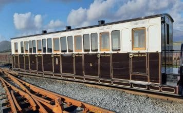 Carriage 15 outshopped at Boston Lodge Works on the Ffestiniog Railway