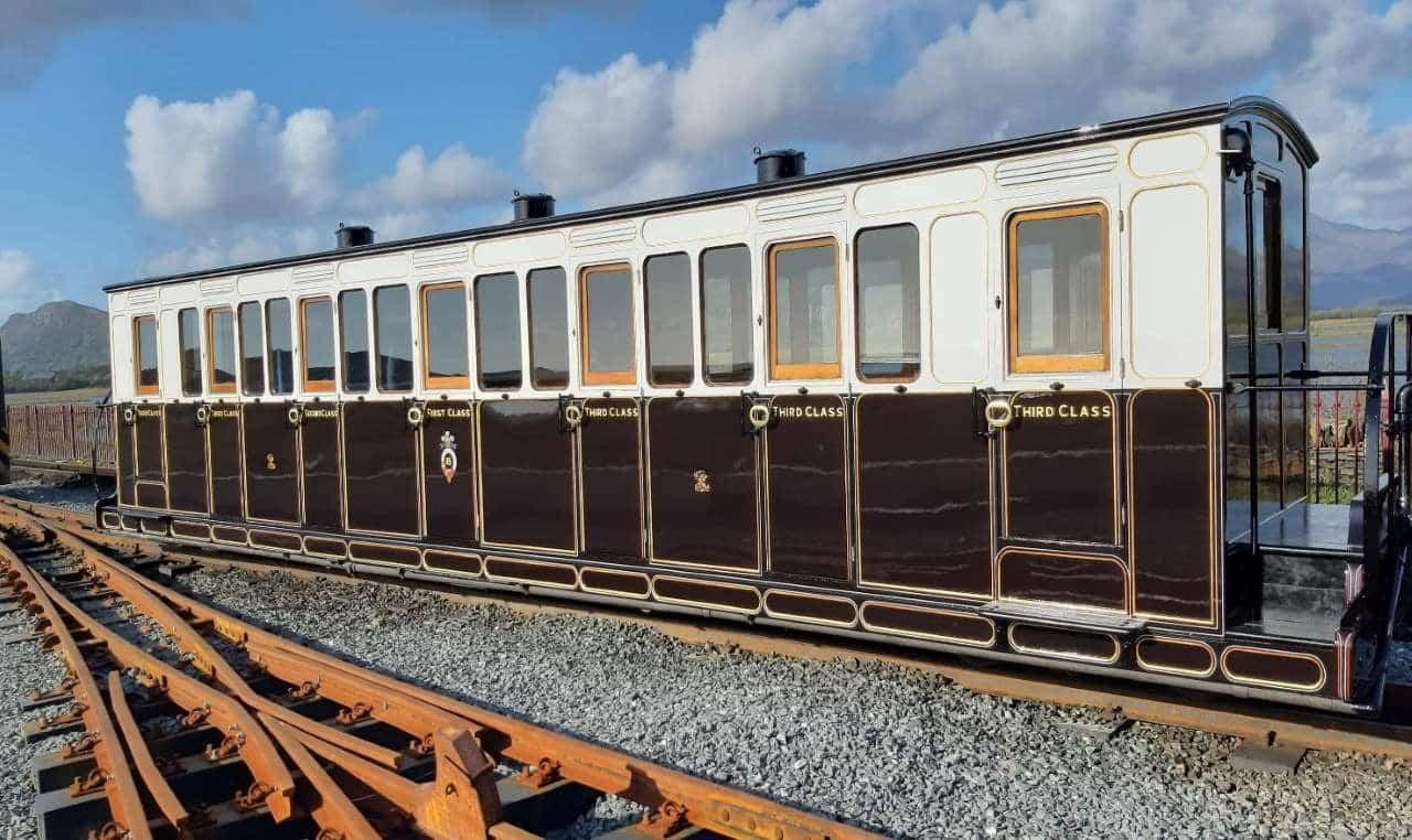 Carriage 15 outshopped at Boston Lodge Works on the Ffestiniog Railway