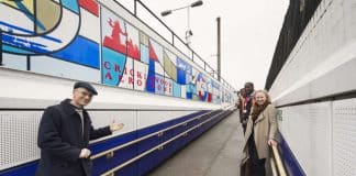 colourful mural at cricklewood station