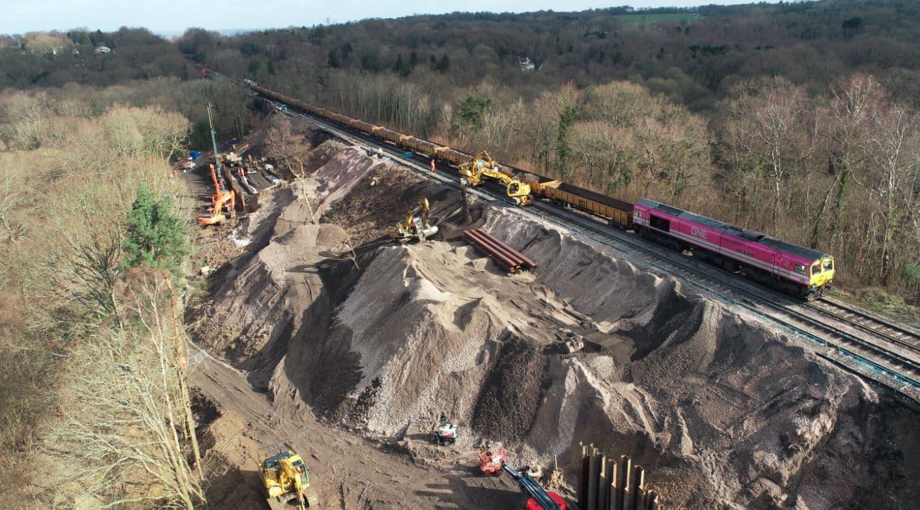 East Grinstead railway line landslip