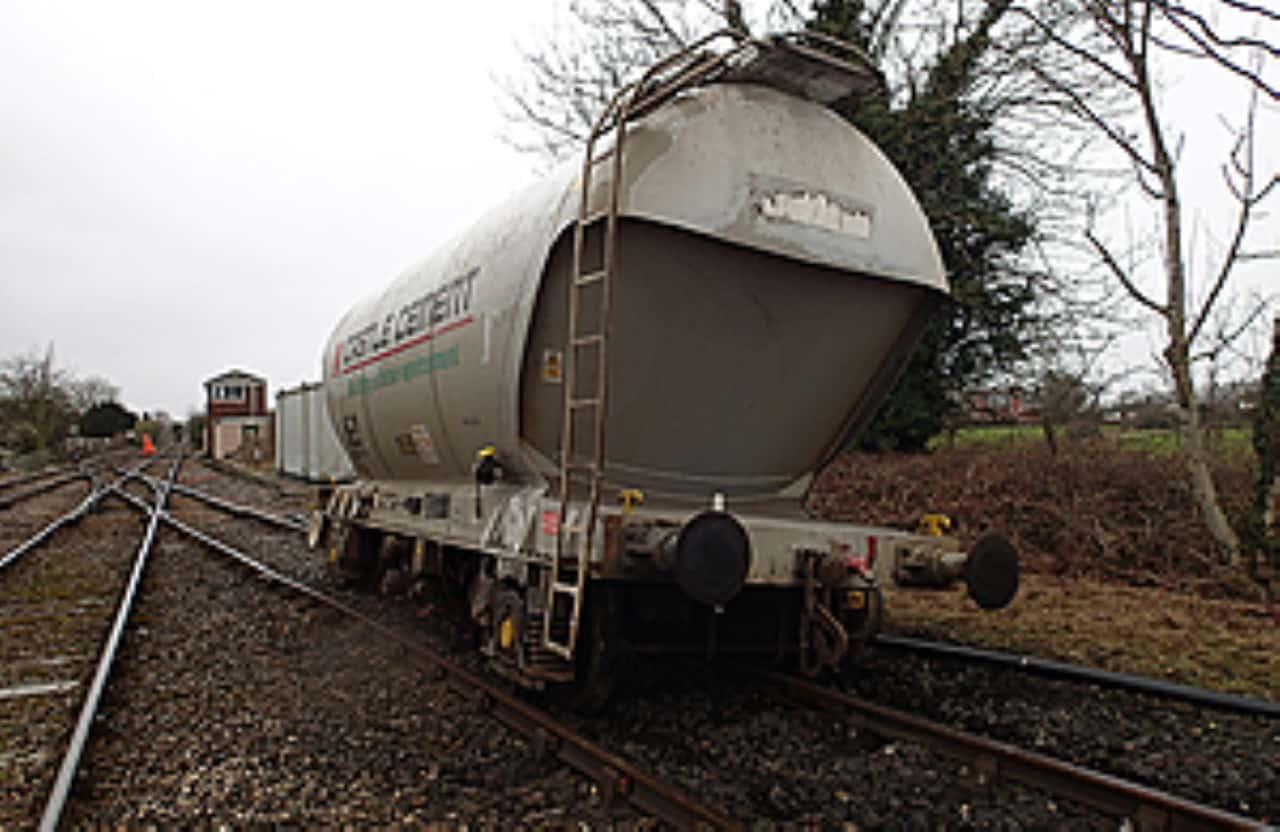 Derailed railway wagon at Horrocksford Junction near Clitheroe
