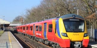 South Western Railway Class 707 at Barnes moving to Southeastern