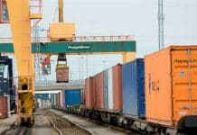 Freight being loaded on railway. Rail Freight Coronavirus