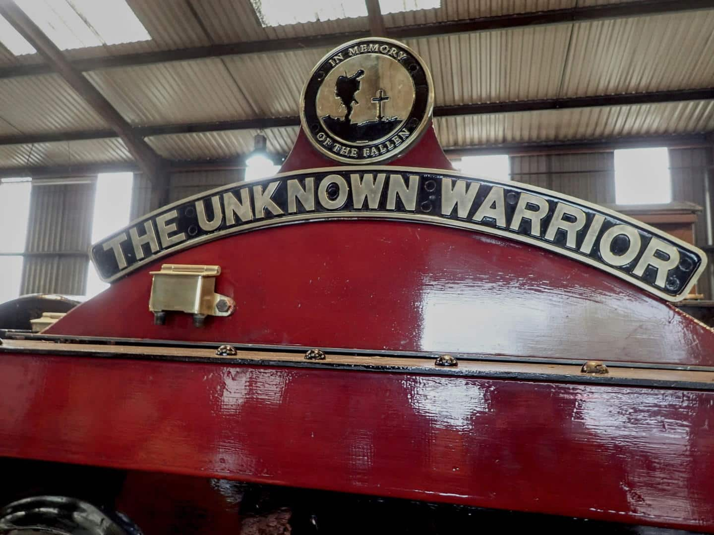 "Nameplate for 5551 ""The Unknown Warrior"" // Credit Callum Calvert"