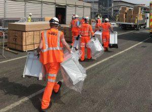 Network Rail teams assisting at NHS Nightingale North West