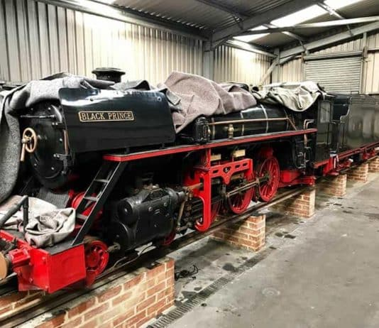 Steam locomotive 11 Black Prince in Storage in 2019 // Credit RHDR
