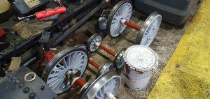 Wheelsets in Primer // Credit Ravenglass Railway Museum Trust