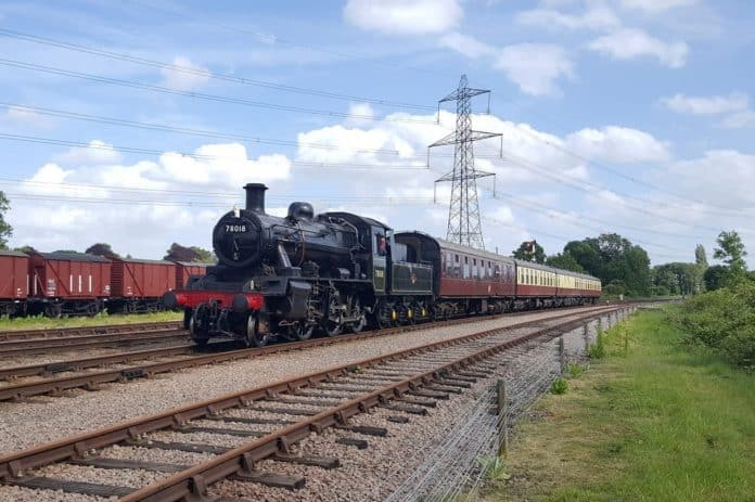 78018 on test at the Great Central Railway