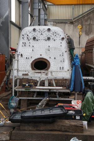 Boiler backplate for steam locomotive 71000 Duke of Gloucester