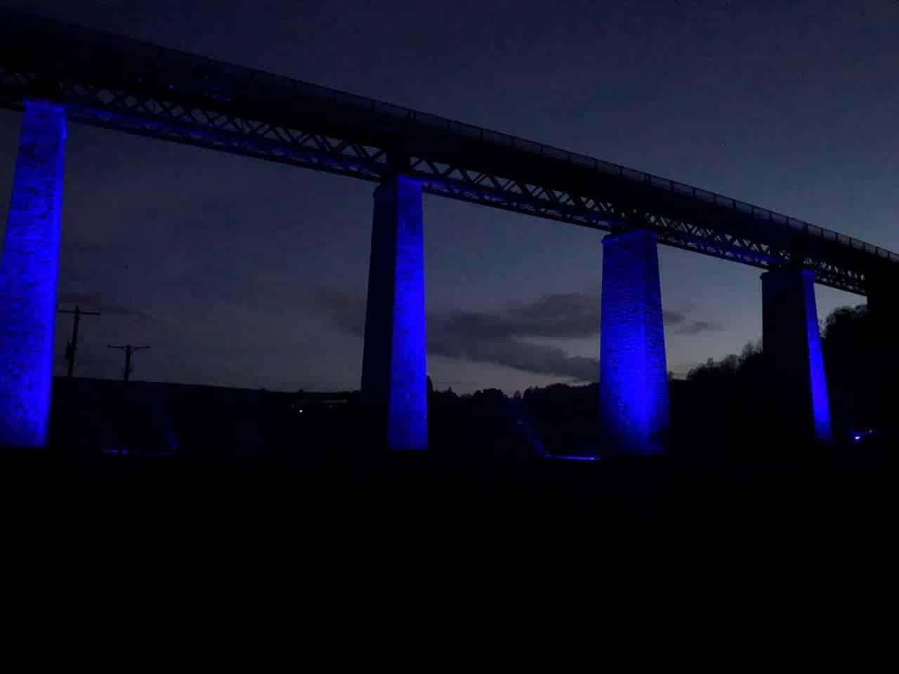 Findhorn viaduct lit blue