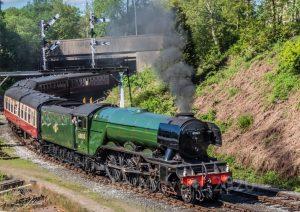 Flying Scotsman departs Bury Bolton Street on the East Lancashire Railway