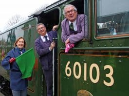 Penny Pegler waves off first FS train at Swanage Friday 22 March 2019 ANDREW PM WRIGHT (2) (002)