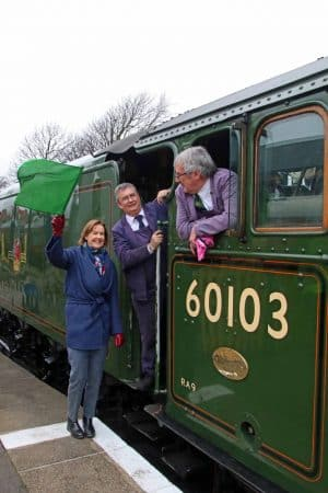 Penny Pegler waves off first FS train at Swanage Friday 22 March 2019 ANDREW PM WRIGHT (5) (002)
