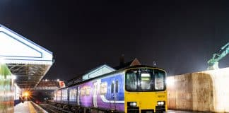 Scunthorpe train station with a Northern Class 150