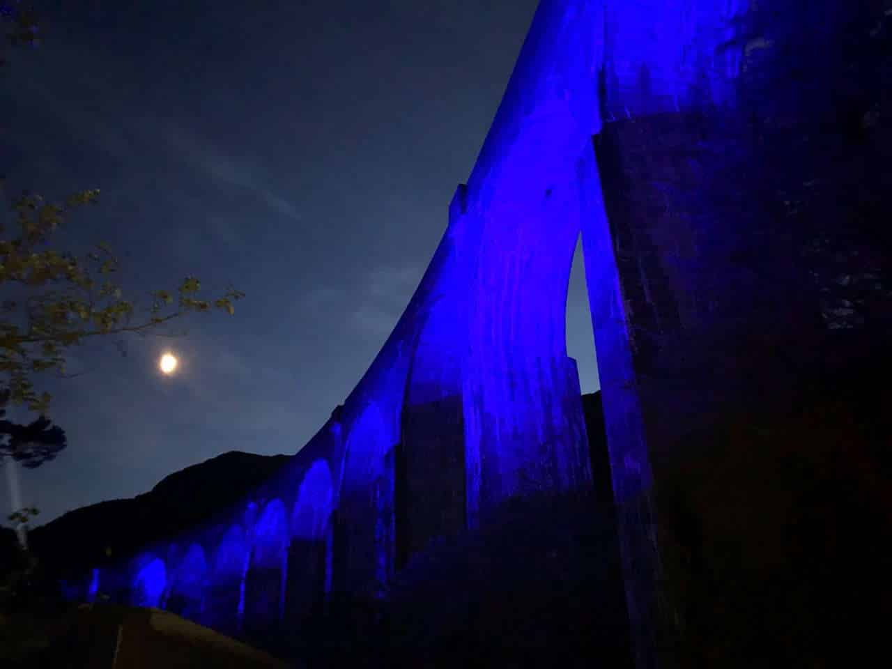 Glenfinnan Viaduct used in Harry Potter Films Lit up in blue for NHS