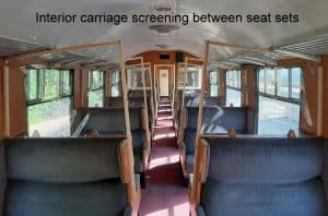 Interior Carriage fitted with Screening // Credit Dartmouth Steam Railway and River Boat