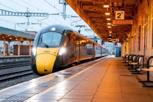 First electric train into Cardiff Central