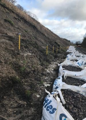 Network Rail prep work for Templecombe embankment work