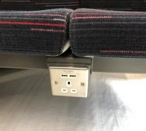 Power sockets in the new greater anglia trains