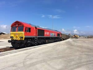 66113 looking stunning as the first loco and freight train out of the newly refurbished Newhaven Marine aggregate terminal