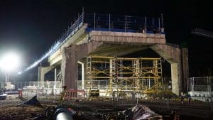 Bletchley flyover lit up May 2020