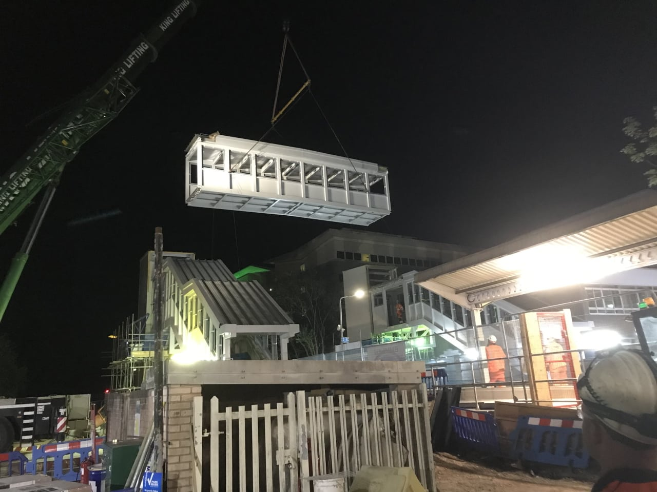 Crawley bridge span being lifted into place