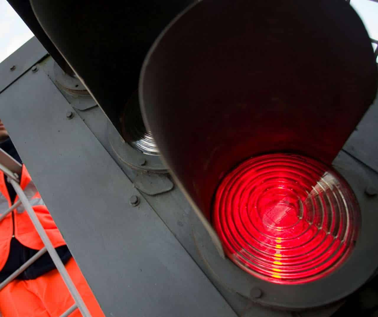 Red light for danger Hither Green Signalling Upgrade