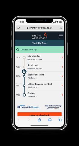 Track My Train App by Avanti West Coast