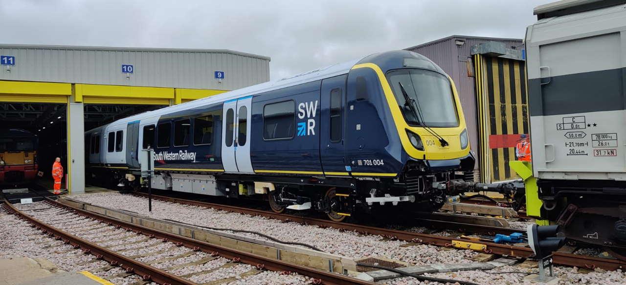 South Western Railway Class 701 arrives at Wimbledon depot